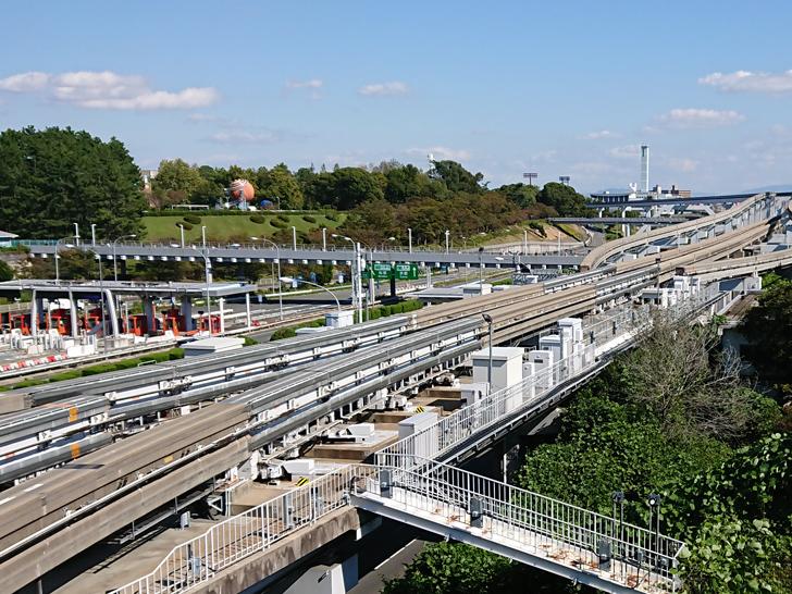 万博記念公園の日本で唯一分岐のあるモノレール